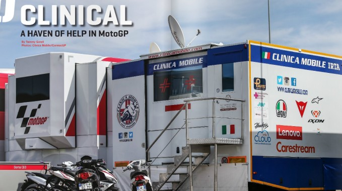 Clinica Mobile truck inside the MOtoGP paddock